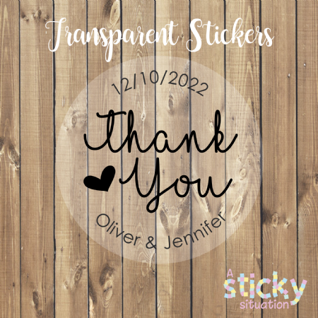 Personalised Transparent 'Thank you' Wedding Stickers - Elegant Heart Design